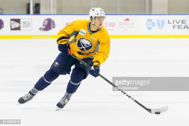 Buffalo Sabres Defenseman Brendan Guhle stick handles during the French Connection Tournament at the Buffalo Sabres Development Camp on July 11 at...