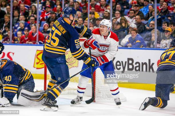Buffalo Sabres Defenseman Rasmus Ristolainen and Montreal Canadiens Right Wing Brendan Gallagher push each other during the Montreal Canadiens and...