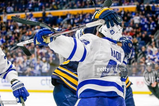 Buffalo Sabres Defenseman Rasmus Ristolainen and Toronto Maple Leafs Center Nazem Kadri fight during the Toronto Maple Leafs and Buffalo Sabres NHL...