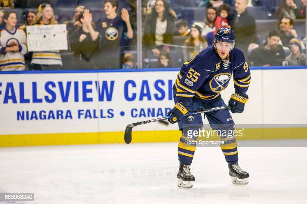 Buffalo Sabres Defenseman Rasmus Ristolainen looks on during warmups prior to the New York Islanders and Buffalo Sabres NHL game on April 2 at...