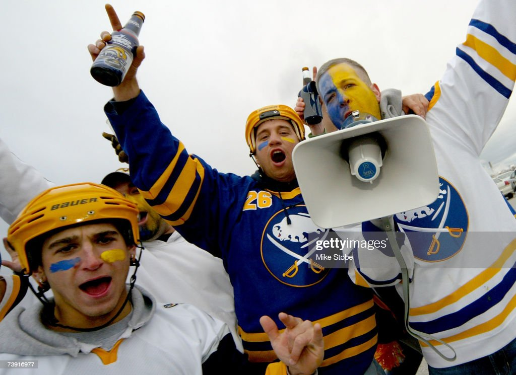 Buffalo Sabres fans cheer on their team in preparation for Game 4 of the 2007 Eastern Conference Quarterfinals against the New York Islanders on April 18, 2007 at Nassau Coliseum in Uniondale, New York. The Sabres lead the series 2-1.
