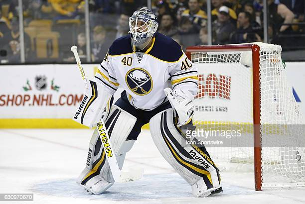 Buffalo Sabres goalie Robin Lehner gets set for a defensive zone face off during a regular season NHL game between the Boston Bruins and the Buffalo...