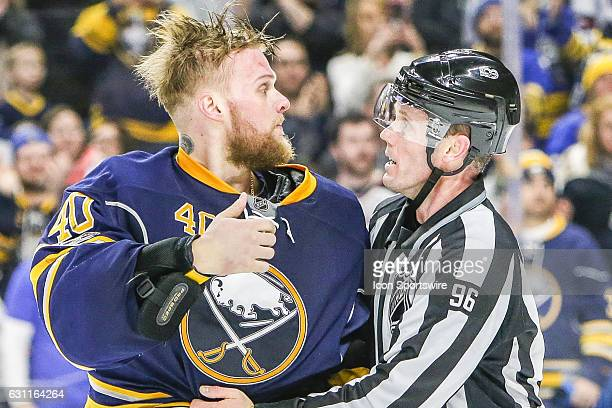 Buffalo Sabres Goalie Robin Lehner gives opposing player a thumbs up following the New Winnipeg Jets and Buffalo Sabres NHL game on January 7 at...