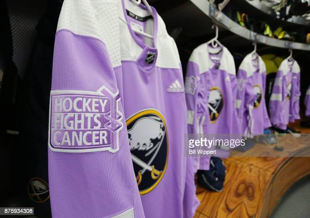 Buffalo Sabres Hockey Fights Cancer Night warmup jerseys are hung before an NHL game against the Carolina Hurricanes on November 18 2017 at KeyBank...