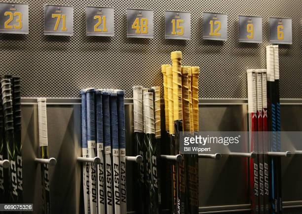 Buffalo Sabres hockey sticks are lined up before an NHL game against the Toronto Maple Leafs at the KeyBank Center on April 3 2017 in Buffalo New York