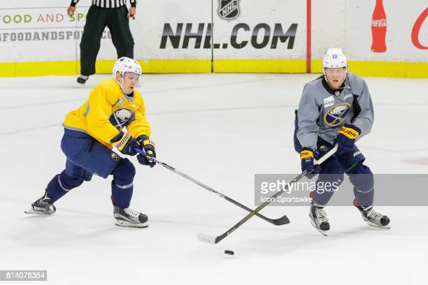 Buffalo Sabres Left Wing Alexander Nylander and Buffalo Sabres Center Vasily Glotov fight for puck during the French Connection Tournament at the...