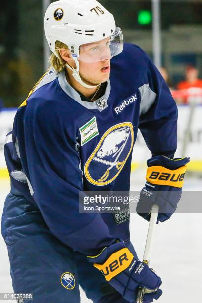 Buffalo Sabres Left Wing Alexander Nylander performs drill during onice practice at the Buffalo Sabres Development Camp on July 10 at HarborCenter in...