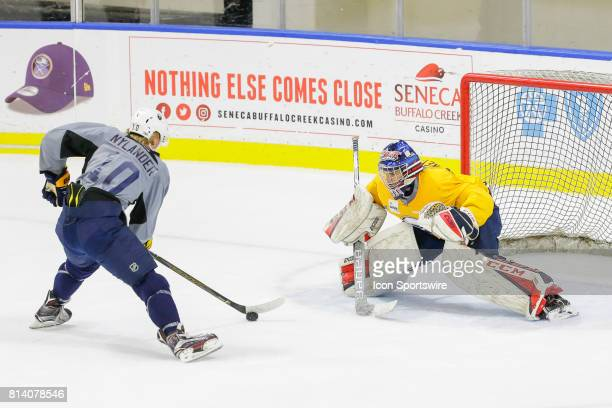 Buffalo Sabres Left Wing Alexander Nylander prepares to shoot on Buffalo Sabres Goalie Kyle Keyser during the French Connection Tournament at the...