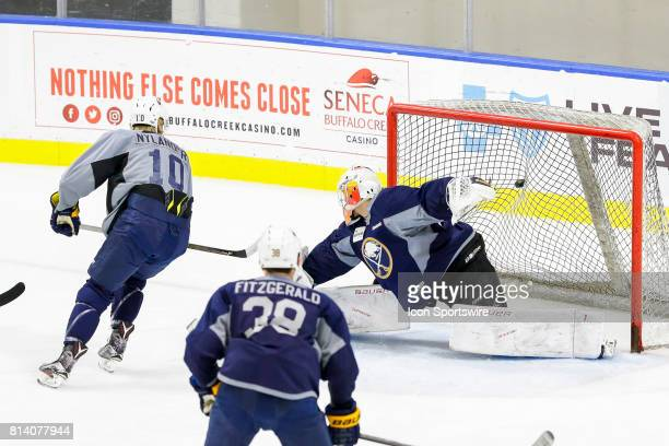 Buffalo Sabres Left Wing Alexander Nylander scores goal past Buffalo Sabres Goalie Jonas Johansson during the French Connection Tournament at the...