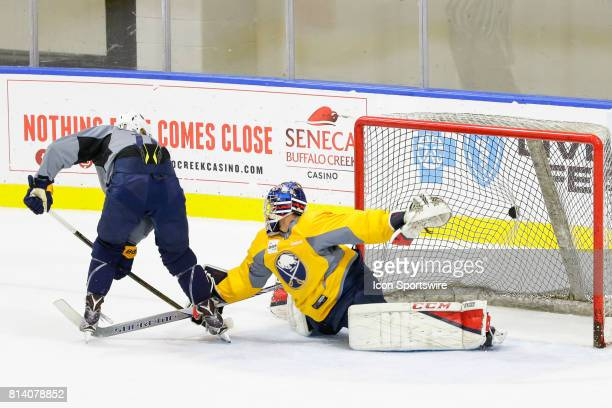 Buffalo Sabres Left Wing Alexander Nylander scores goal past Buffalo Sabres Goalie Kyle Keyser during the French Connection Tournament at the Buffalo...