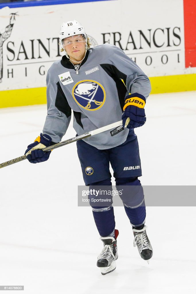 Buffalo Sabres Left Wing Alexander Nylander (70) skates to bench after scoring goal during the French Connection Tournament at the Buffalo Sabres Development Camp on July 11, 2017, at HarborCenter in Buffalo, NY.