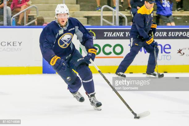 Buffalo Sabres Left Wing Alexander Nylander skates with the puck during onice practice at the Buffalo Sabres Development Camp on July 10 at...