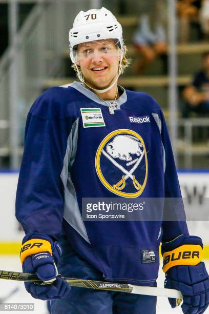 Buffalo Sabres Left Wing Alexander Nylander smiles during onice practice at the Buffalo Sabres Development Camp on July 10 at HarborCenter in Buffalo...