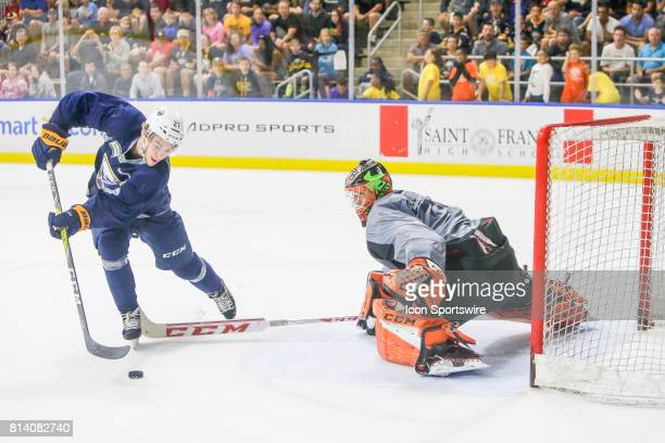 Buffalo Sabres Left Wing Brandon Hagel prepares to shoot on Buffalo Sabres Goalie UkkoPekka Luukkonen during the French Connection Tournament at the...