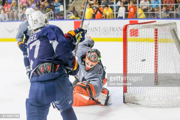 Buffalo Sabres Left Wing Brandon Hagel scores past Buffalo Sabres Goalie UkkoPekka Luukkonen during the French Connection Tournament at the Buffalo...