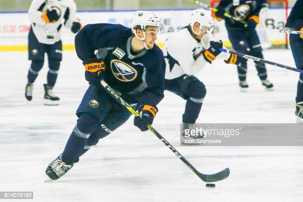 Buffalo Sabres Left Wing Brandon Hagel stick handles during the French Connection Tournament at the Buffalo Sabres Development Camp on July 11 at...