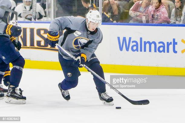 Buffalo Sabres Left Wing CJ Smith stick handles past teammates during the French Connection Tournament at the Buffalo Sabres Development Camp on July...
