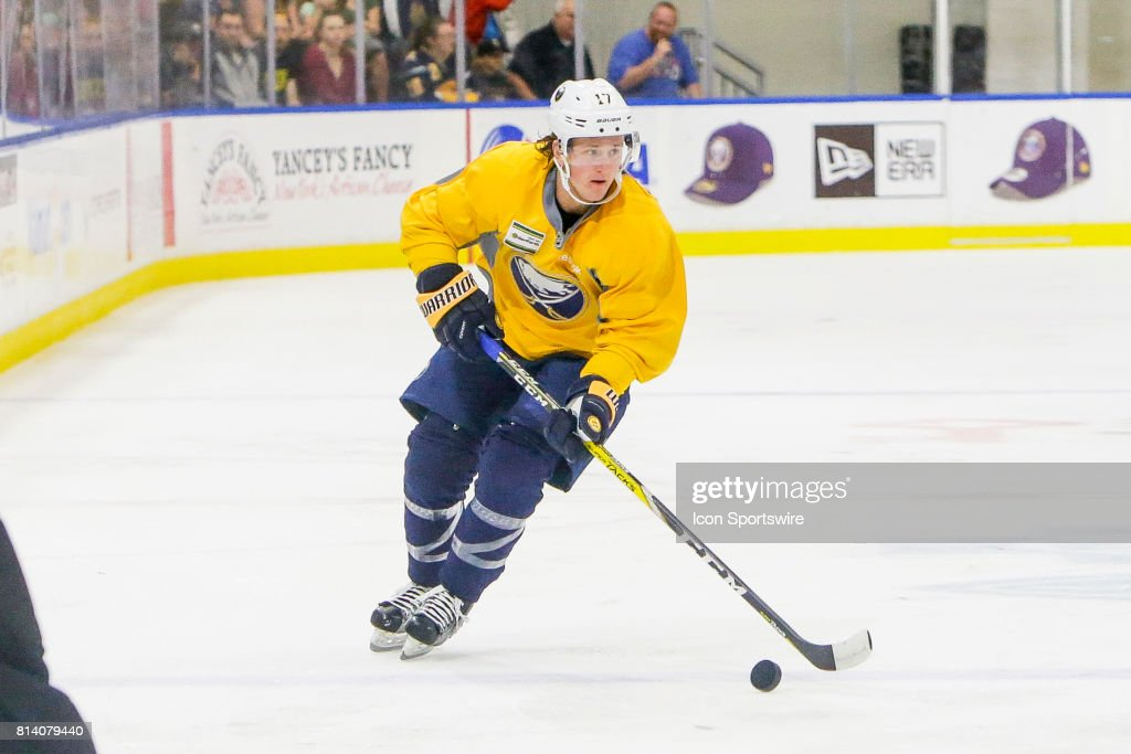 Buffalo Sabres Left Wing Linus Weinbach (17) looks to pass during the French Connection Tournament at the Buffalo Sabres Development Camp on July 11, 2017, at HarborCenter in Buffalo, NY.
