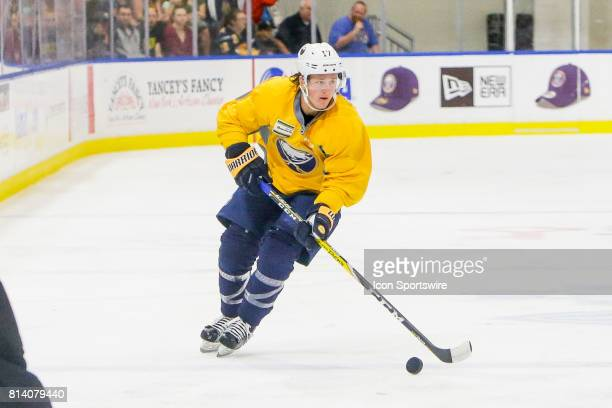 Buffalo Sabres Left Wing Linus Weinbach looks to pass during the French Connection Tournament at the Buffalo Sabres Development Camp on July 11 at...