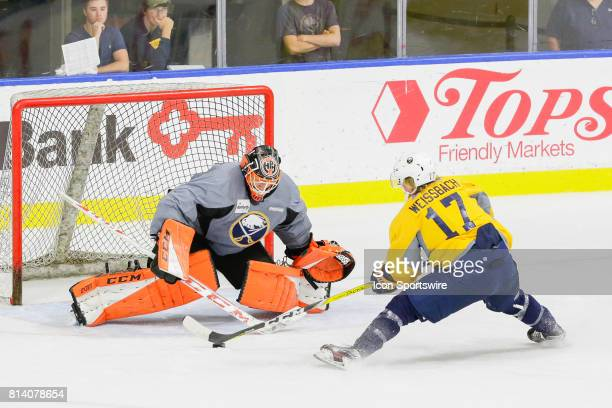 Buffalo Sabres Left Wing Linus Weinbach prepares to shoot on Buffalo Sabres Goalie UkkoPekka Luukkonen during the French Connection Tournament at the...