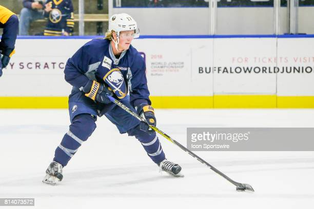 Buffalo Sabres Left Wing Linus Weinbach skates with the puck during onice practice at the Buffalo Sabres Development Camp on July 10 at HarborCenter...