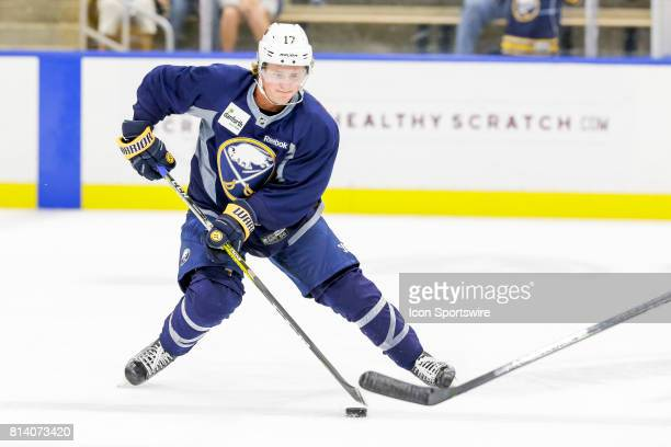 Buffalo Sabres Left Wing Linus Weinbach stick handles during onice practice at the Buffalo Sabres Development Camp on July 10 at HarborCenter in...