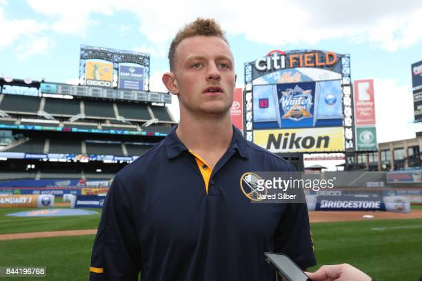 Buffalo Sabres player Jack Eichel speaks to the media following the 2018 Bridgestone NHL Winter Classic Press Conference at Citi Field on September 8...