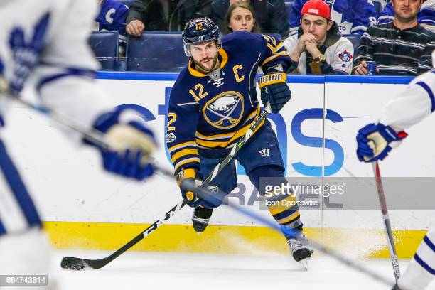 Buffalo Sabres Right Wing Brian Gionta takes shot during the Toronto Maple Leafs and Buffalo Sabres NHL game on April 3 at KeyBank Center in Buffalo...
