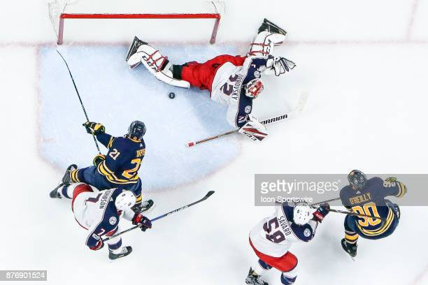 Buffalo Sabres Right Wing Kyle Okposo closes in on rebound after save from Columbus Blue Jackets Goalie Sergei Bobrovsky during the Columbus Blue...