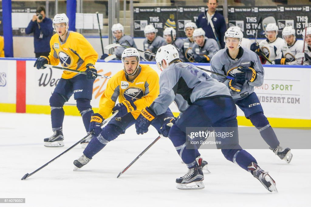 Buffalo Sabres Right Wing Nicholas Baptiste (73) stick handles during the French Connection Tournament at the Buffalo Sabres Development Camp on July 11, 2017, at HarborCenter in Buffalo, NY.