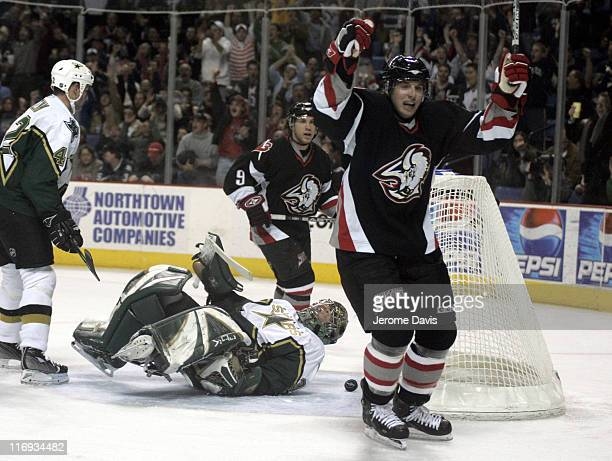 Buffalo Sabres' Thomas Vanek reacts after scoring a goal during a game versus the Dallas Stars at the HSBC Arena in Buffalo NY December 14 2005...