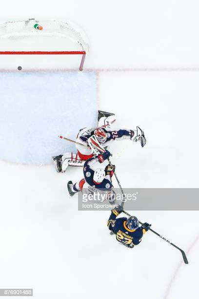 Buffalo Sabres Winger Sam Reinhart redirects puck past Columbus Blue Jackets Goalie Sergei Bobrovsky for goal during the Columbus Blue Jackets and...