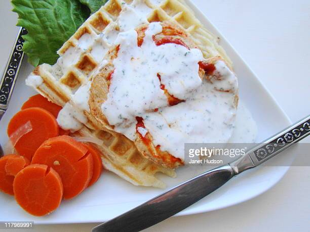 Buffalo Seitan and Waffles