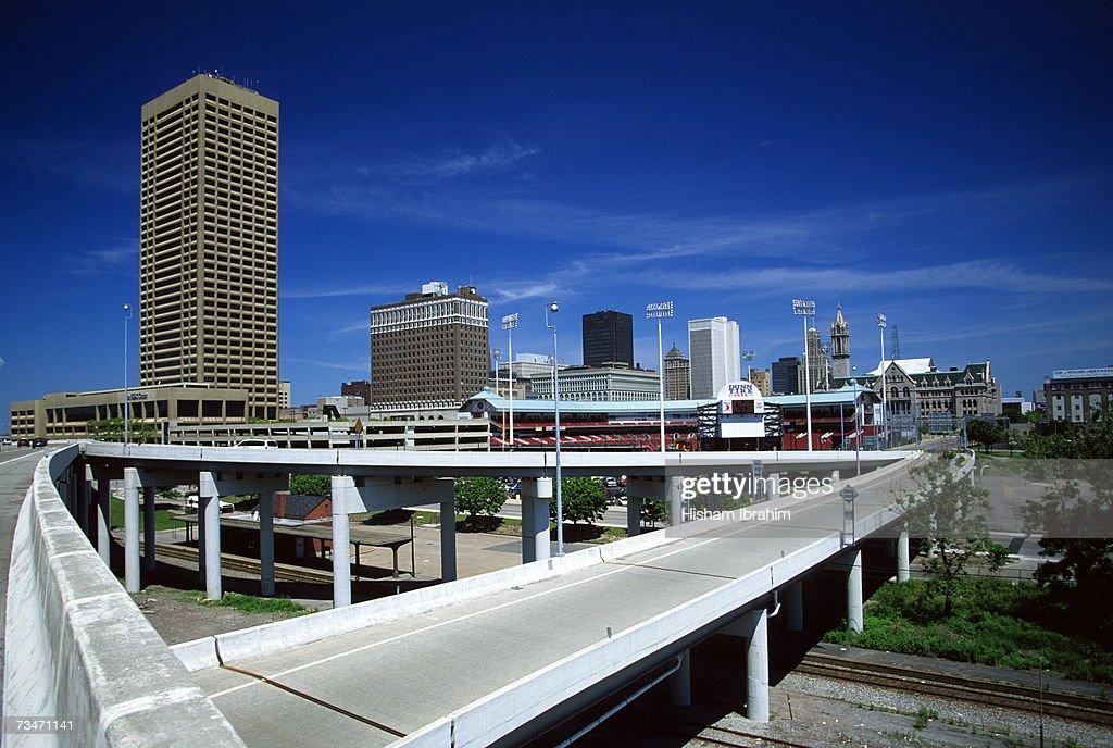 Buffalo Skyline, Dunn Tire Park and freeway, New York, USA