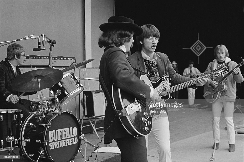 Buffalo Springfield's Dewey Martin, David Crosby, Richie Furay, and Stephen Stills (L-R) jam during their set at the Monterey Pop Festival.