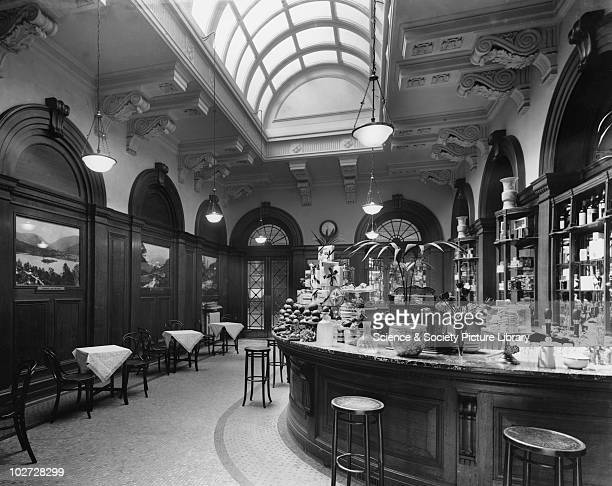 Buffet at the LNWR's Euston Station 1913 Buffet at the LNWR's Euston Station with counters laden with chocolate fruit and sandwiches c 1913