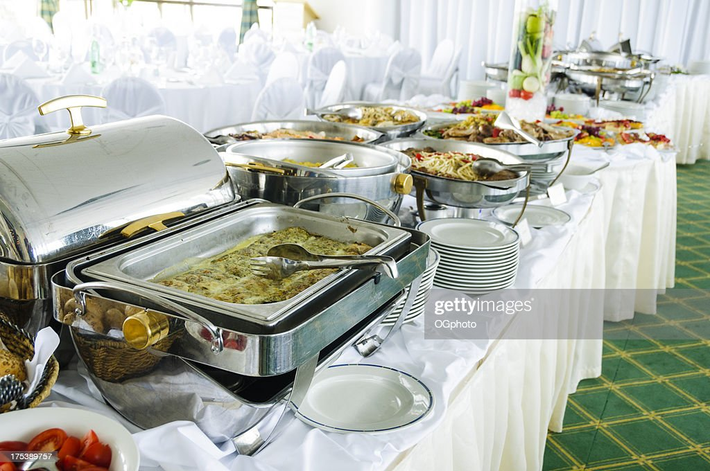 buffet with metal food containers stock photo getty images. Black Bedroom Furniture Sets. Home Design Ideas