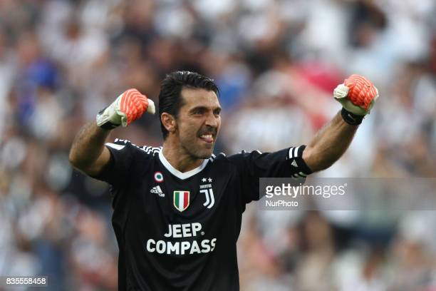 Buffon celebrates during the Serie A football match n1 JUVENTUS CAGLIARI on at the Allianz Stadium in Turin Italy