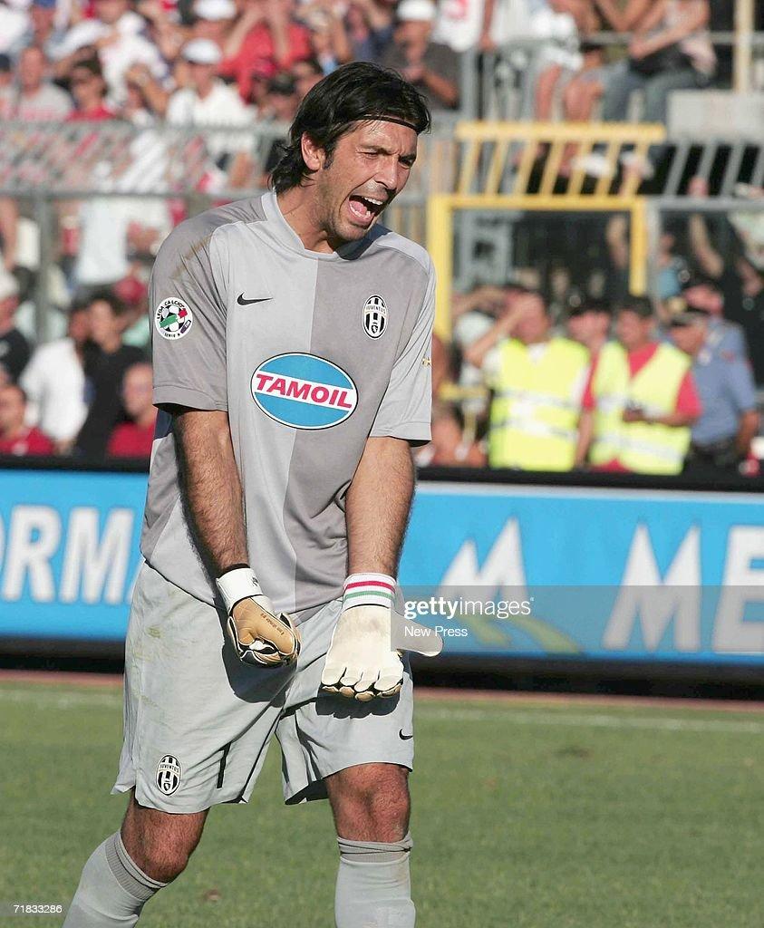 Buffon of Juventus reacts during the Serie B match between Rimini and Juventus at the Romeo Neri stadium September 9 2006 in Rimini Italy