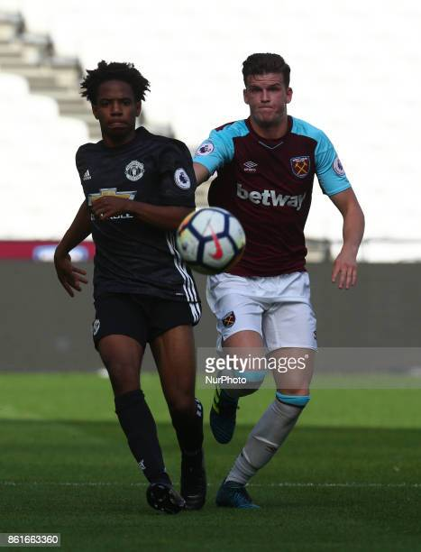 Buffonge of Manchester United's Under 23 and West Ham United U23s Sam Byram during Premier League 2 Division 1 match between West Ham United Under...