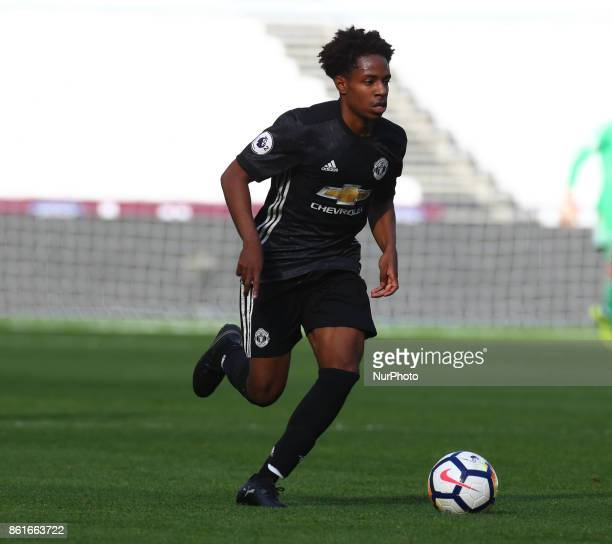 DJ Buffonge of Manchester United's Under 23 during Premier League 2 Division 1 match between West Ham United Under 23s and Manchester United Under...