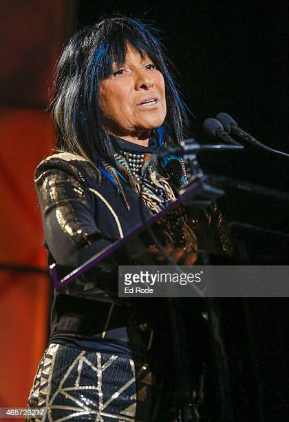 Buffy SainteMarie attends the 2014 Musicians Hall of Fame Induction Ceremony at Nashville Municipal Auditorium on January 28 2014 in Nashville...
