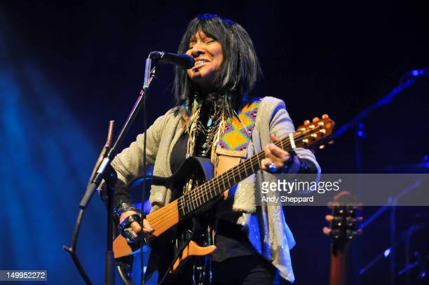 Buffy SainteMarie performs on stage for Antony's Meltdown at Southbank Centre on August 7 2012 in London United Kingdom