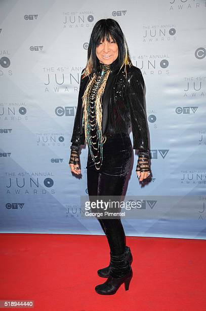 Buffy St Marie arrives at the 2016 Juno Awards at Scotiabank Saddledome on April 3 2016 in Calgary Canada