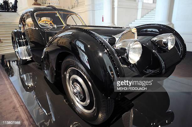 A Bugatti 57 S Atlantic 1938 is shown on April 27 2011 at the Musee des Arts Decoratifs museum in Paris during the 'L'art de l'Automobile' exhibition...
