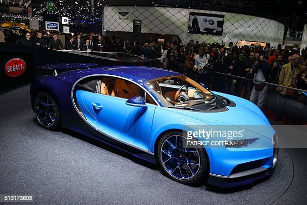 A Bugatti Chiron car model is displayed during the press day of the Geneva Motor Show on March 1 2016 in Geneva Bugatti unveilled the Chiron...