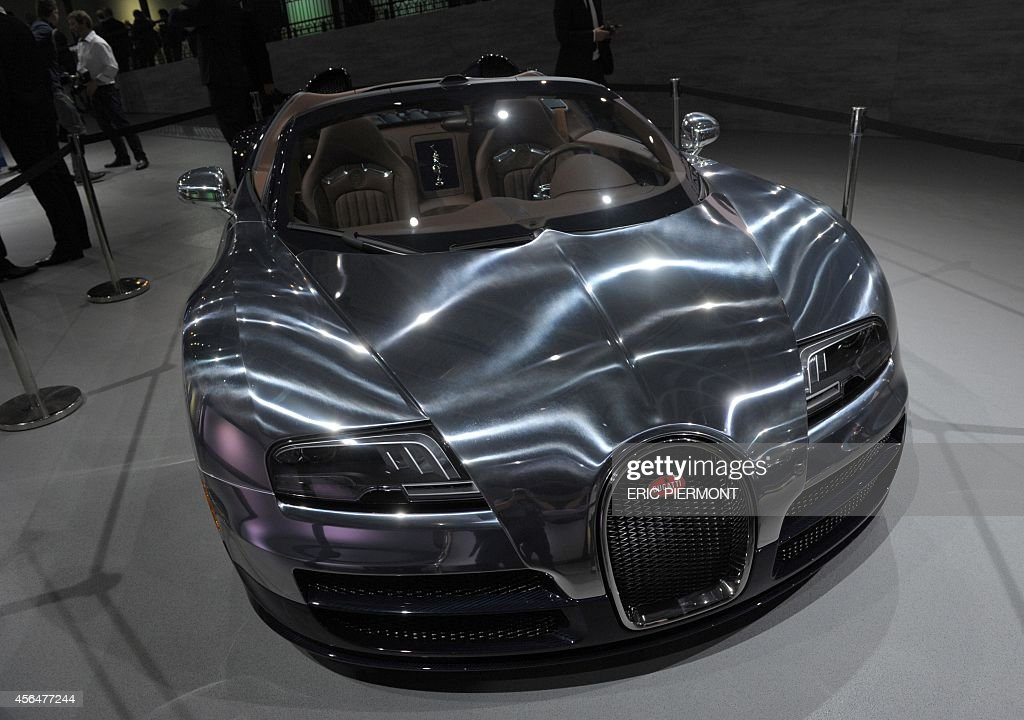 A Bugatti is presented at the Volkswagen Group Night show on October 1 2014 in Paris prior to the opening on October 2 of the Paris Auto show 2014...