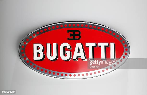 Bugatti logo is displayed during the press day at the 86th Geneva International Motor Show on February 29 2016 in Geneva Switzerland The 86th...