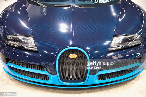 Bugatti shows off the Veyron 164 Grand Sport Vitesse at the Chicago Auto Show during the media preview on February 13 2015 in Chicago Illinois The...