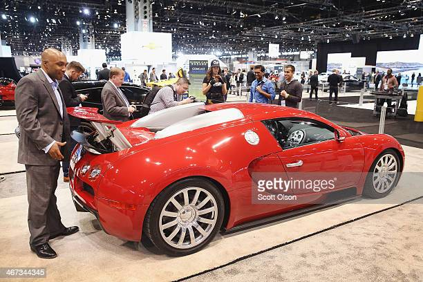 Bugatti shows off their $15 million Veyron at the Chicago Auto Show on February 6 2014 in Chicago Illinois The show which is oldest and largest in...